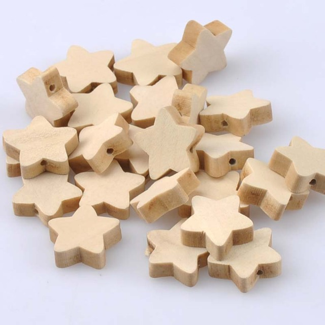 19mm 50pcs Natural Wooden star Wooden Beads For kids Jewelry Making MT1482