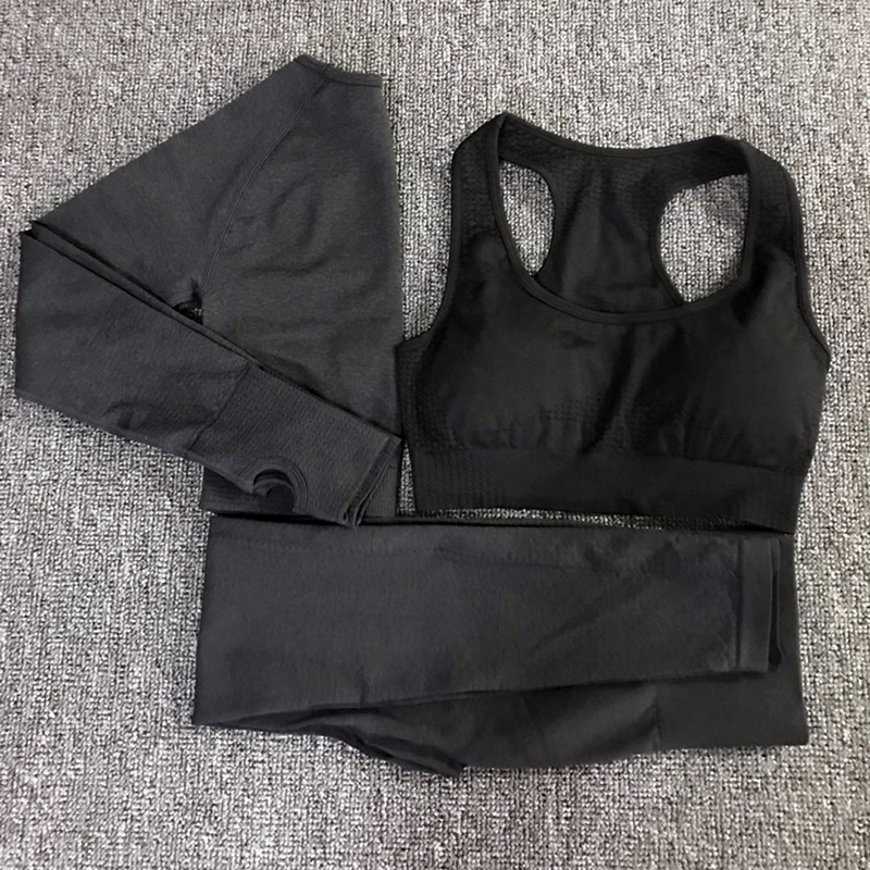 3 pièces vital sans couture yoga ensemble femmes vêtements d'entraînement vital soutien-gorge à manches longues hauts leggings fitness gym ensemble femmes femmes sport porter