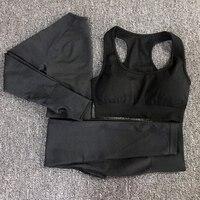 3pcs vital seamless yoga set women workout clothes vital bra long sleeve tops leggings fitness gym set women womans sport wear