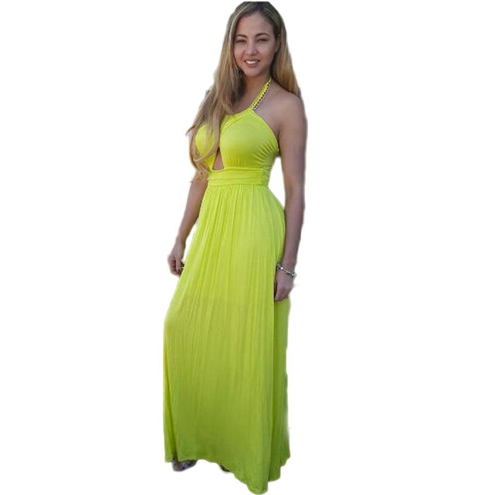 Yellow backless summer dress