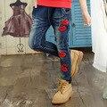 Calças de Brim meninas Lábio Vermelho Denim Calças Para Crianças Meninas Roupas Dos Desenhos Animados Calças meninas 4 6 8 10 12 Anos Crianças Primavera Outono roupas