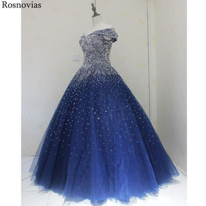Image 4 - Navy Blue Ball Gown Quinceanera Dresses 2020 Off Shoulder Lace up Back Major Beading Princess Puffy Prom Party Dresses