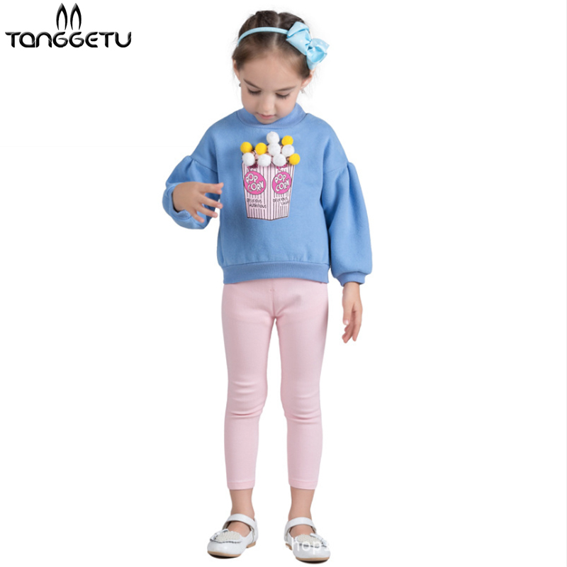 Tanggetu 2018 Spring Winter Autumn Girls Sweater Kid Knitwear Popcorn Sweaters for Girl Knitted Sweater Pullover Clothes Blue kid girls sweater lace dress 2018 spring