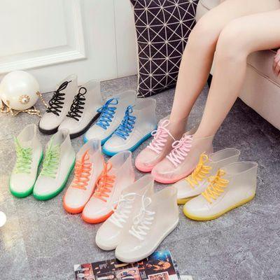 купить PVC Fashion Women Transparent Rain Boots Rubber Lace Up Women Ankle Boots Waterproof Casual Comfort Ladies Martin Boots Shoes по цене 1018.6 рублей