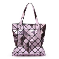 2018 New 6*6 Mirror Handbag Rhombic Mosaic Shoulder Bag Folding Variety Geometric Bag Magic bag