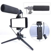Micrófono de grabación de vídeo condensador para teléfono Nikon Canon Sony DSLR Cámara Vlogging entrevista micrófono con trípode