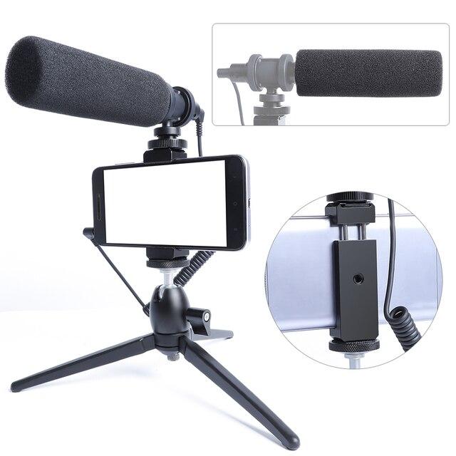 הקבל וידאו הקלטת מיקרופון עבור טלפון Nikon Canon Sony DSLR מצלמה Vlogging ראיון מיקרופון עם חצובה