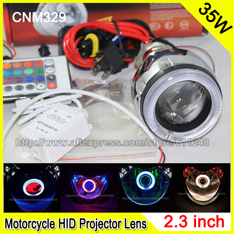 ФОТО CNM331 2.3 Inch 35W Car & Motorcycle H4 H7 Bi-xenon HID Projector Lens Wireless Remote Control DRL Fog Headlight RGB Angel Eyes