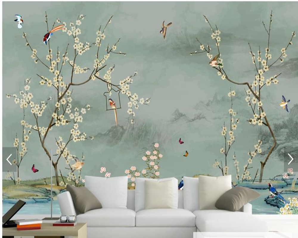 Custom bird wallpaper, hand drawn sketch Bird and flower murals for living room bedroom sofa backdrop wall decor wallpaper book knowledge power channel creative 3d large mural wallpaper 3d bedroom living room tv backdrop painting wallpaper