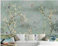 Personnalisé oiseau papier peint, dessinés à la main croquis Oiseau et fleur peintures murales pour salon chambre canapé toile de fond décoration murale papier peint