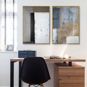 Image 4 - HAOCHU Drieluik Nordic Wit Zwart Grijs Vierkante Foto Moderne Poster Handgeschilderde Canvas Schilderij Wall Art voor Woonkamer Decor