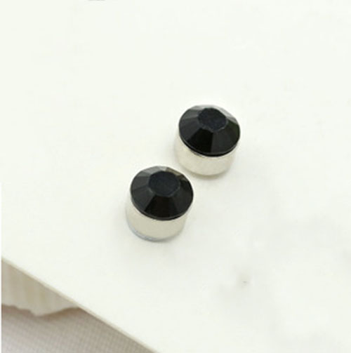 Black and White Crystal Pair Non Piercing Clip on Magnetic Magnet Ear Stud Mens Womens Fake Earrings Free shipping