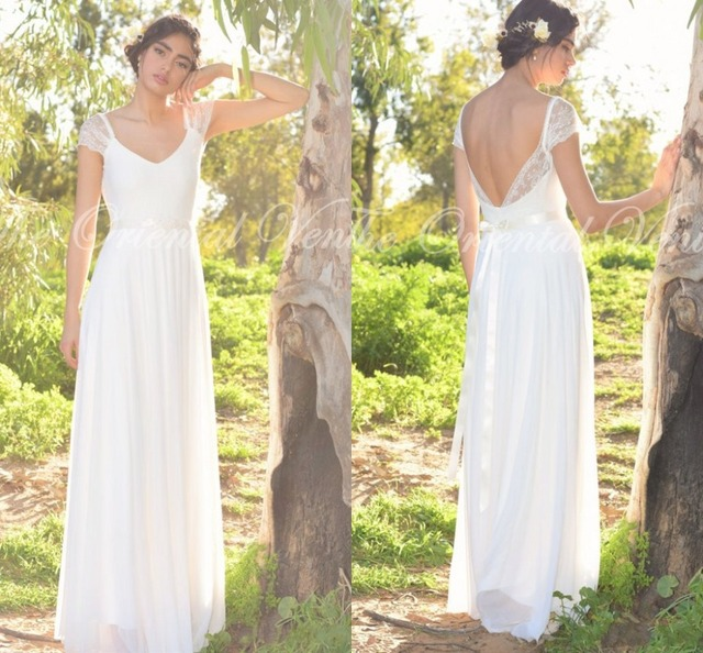 Country Style Lace Boho Wedding Dress Cap Sleeves Hippie Bride Gowns Summer Beach Wedding Dresses 2017 Bohemian Vestido de Novia