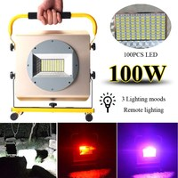 2400Lumens 100 100W LED Floodlights Portable Cordless Work Light Rechargeable LED Flood Light Spot Camping Lamp