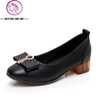 Women Pumps Genuine Leather Middle Heels New Classic Shoes Square Heel Shoes Black Thick Heels Spring