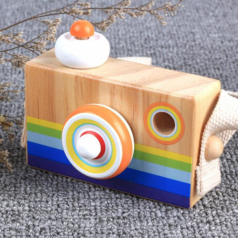 Let's Make 1pc Wooden Baby Toys Fashion Camera Pendant Montessori Toys For Children Wooden DIY Presents Nursing Gift Baby Block