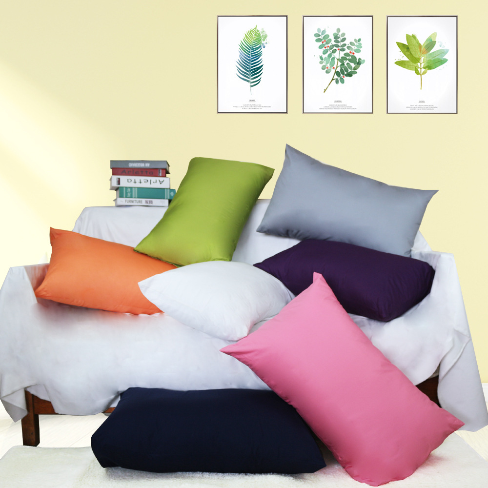 100% cotton fabric <font><b>pillowcase</b></font> solid color pillow case super soft pillow cover for bedding 48x74/50x70/50x76cm size image