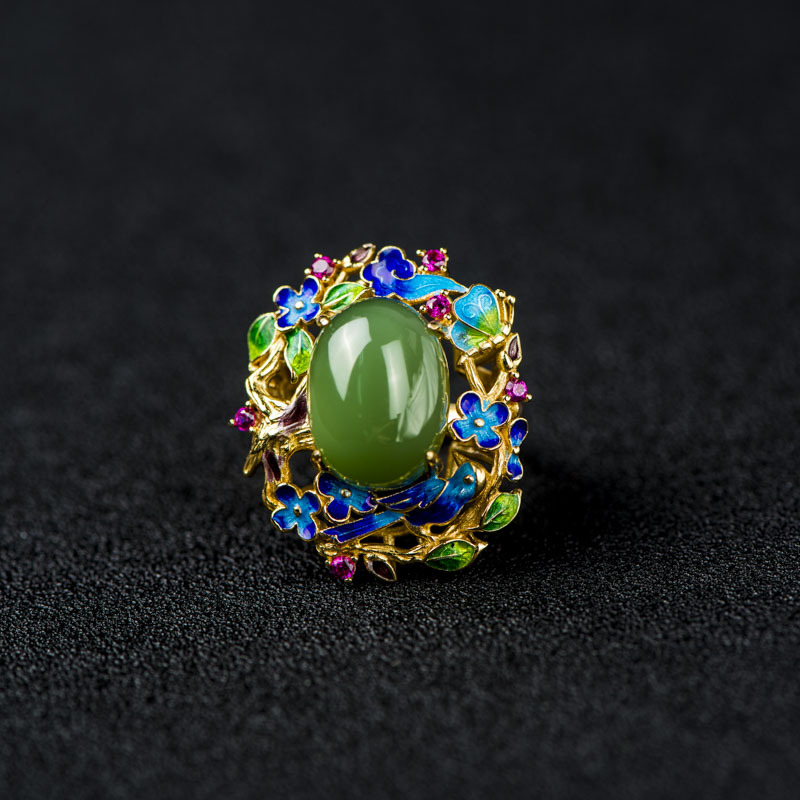 Retro Silver S925 Sterling Silver Ring Wholesale Cloisonne Colorful Butterfly Jasper Natural Beeswax Gems Silver Women Ring