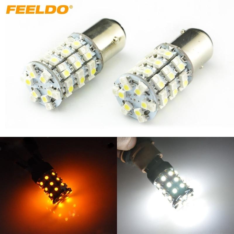 FEELDO 10Pcs 12V 1157 BAY15D 3528 60SMD 300LM 60 LED Dual Color Yellow/White Car Turn/Brake LED Light Bulb #FD-1589