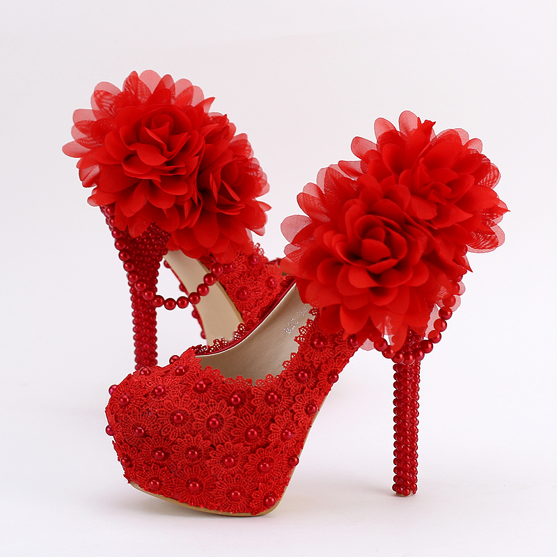 ФОТО Red Laces Big Flowers Wedding Shoes Super High Heel Pumps Bride Pearl Dress Shoes Waterproof Pumps