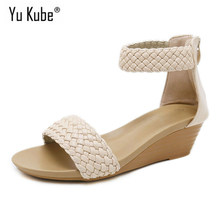 Yu Kube Summer Shoes Woman Sandals Braided Tape Sandalias Mujer 2019 Wrap Wedges Shoes For Women Gladiator Sandals Plus Size(China)