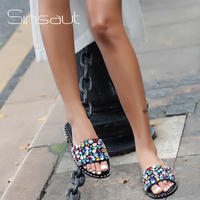 Sinsaut Summer Shoes Women Flip Flops Slides Women Flat Casual Sandals Casual Rhinestone slippers zapatos mujer