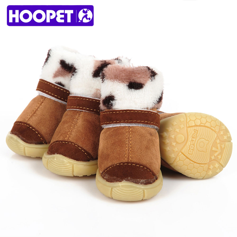 HOOPET Pet Dog Puppy Cotton <font><b>Shoes</b></font> Warm Leopard Print Suede Fabric Boots Autumn and Winter image