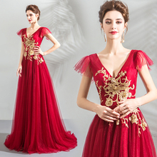 Its YiiYa Evening Dress V-neck Gold Embroidery Flowers Crystal Beading Wedding Party Wine Red Long Formal Prom Gowns E160