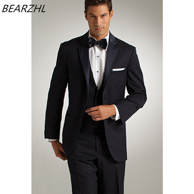 newest e556c 940fb 2017 hohe qualität smoking für männer anzüge dunkelblau nach maß anzug  bräutigam tragen slim fit kleid 3 stück