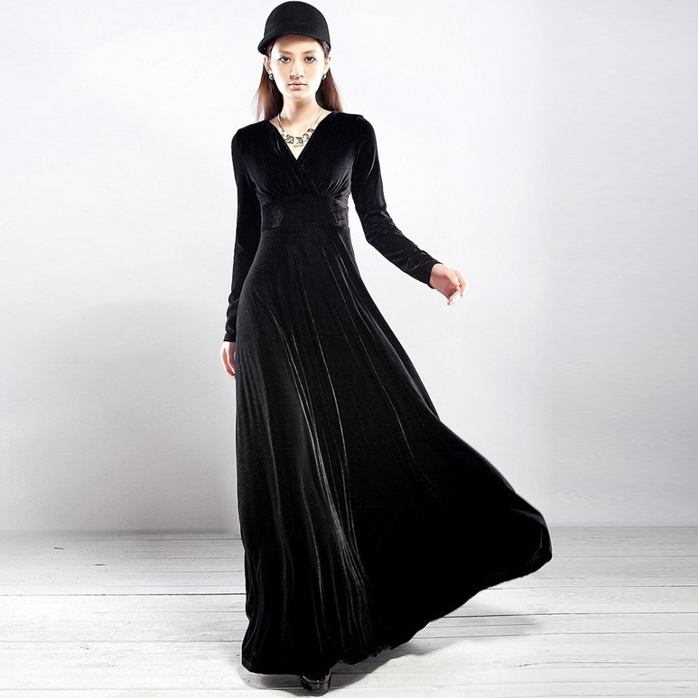 Spring Autumn Sexy Elegant Lady Velvet Warm Maxi Dress Women Long Kemeja Row Hitam Shop At Getsubject Aeproduct