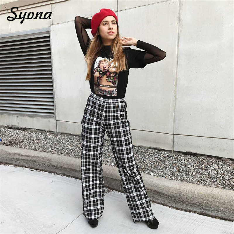 731474338 ... Women Casual High Waist Plaid Check PANTS Straight Checkered Trousers  Loose Long Palazzo Grid PANTS Cropped ...