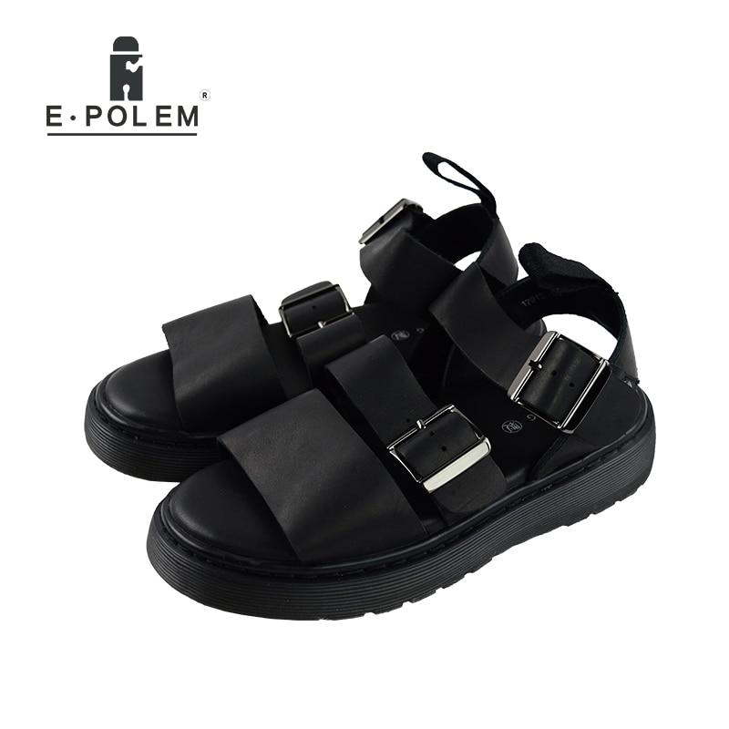 2017 Summer Man Sandals Genuine Leather font b Shoes b font Open Toe Sandals Fashion font