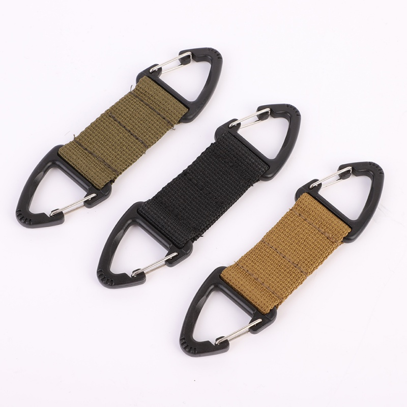 Outdoor Molle Double Point Triangle Multifunctional Carabiner Webbing Belt Clip Climbing Carabiner Buckle Tactical Bag Hook