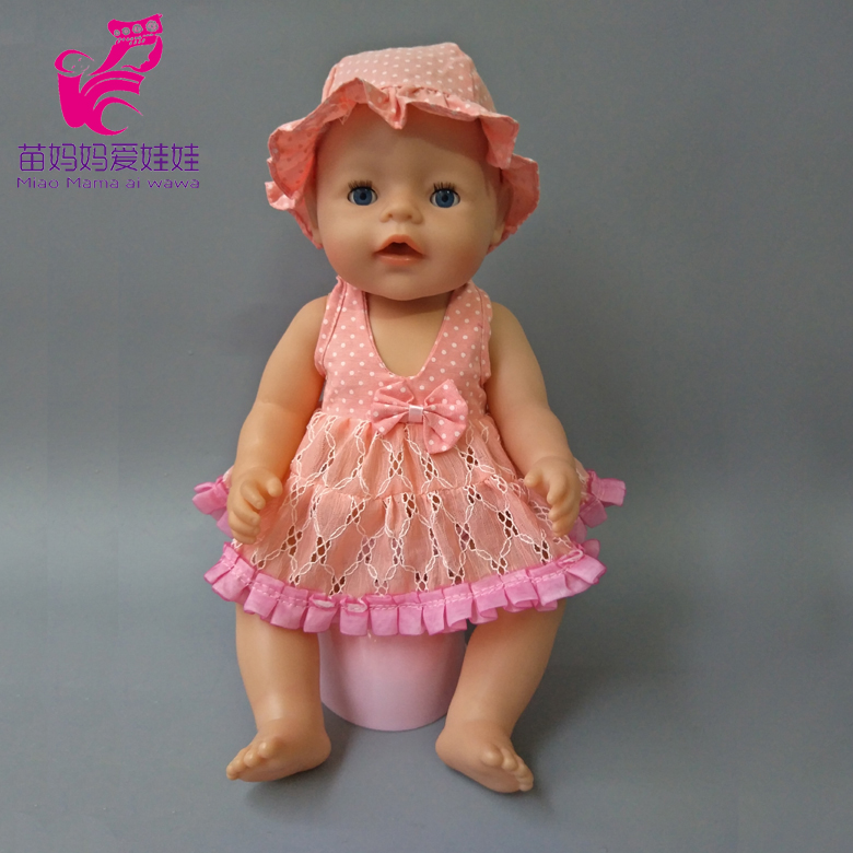 Doll Clothes Fit 45cm Zapf Baby new Born Doll girl dress Suit with hat 18 inch Accessories Children doll Birthday Gifts