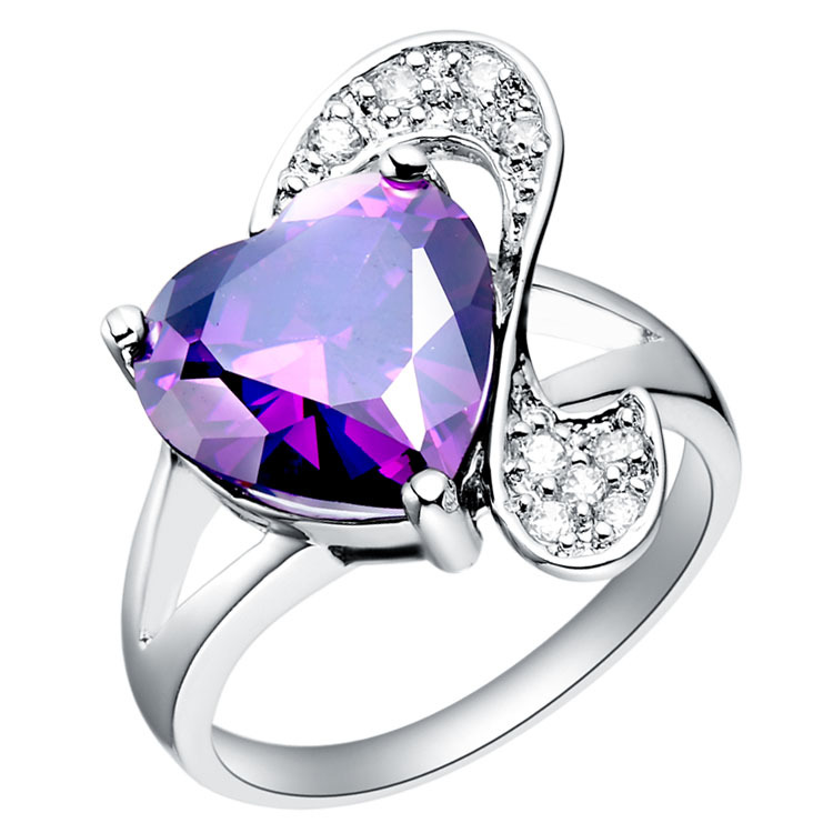 purple wedding solid band matching rings stone gem stacking jewelry amethyst white gold ring