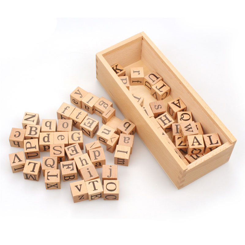 Montessori Movable Alphabet Cube Box Wooden Preschool Educational Learning Toys For Children Juguetes Brinquedos MG2546H   - title=