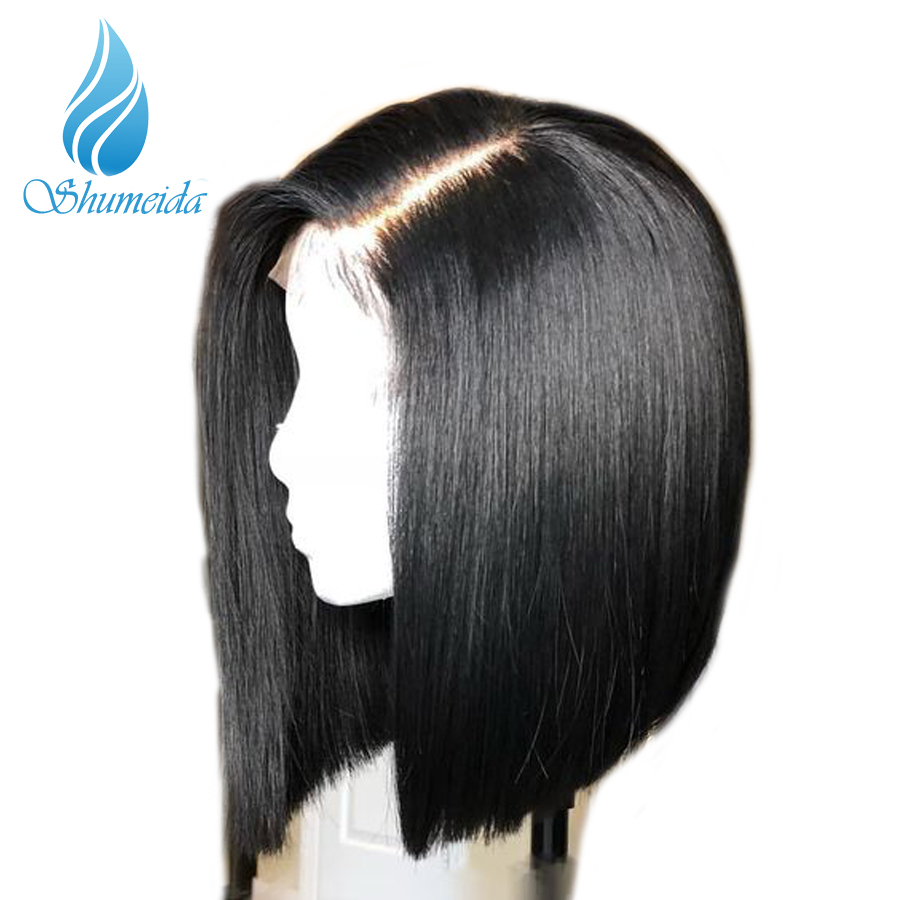 Short Full Lace Human Hair Wigs Straight Pre Plucked Bleached Knots Bob Wigs For Black Women