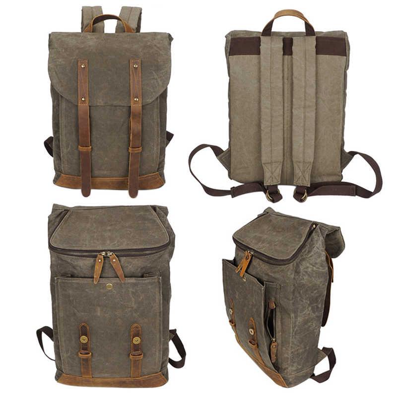 3f138fec0c68 ... Burminsa Воск холст кожаный мужской рюкзак Винтаж 17-дюймовый ноутбук  Сумки Водонепроницаемый Для мужчин Путешествия