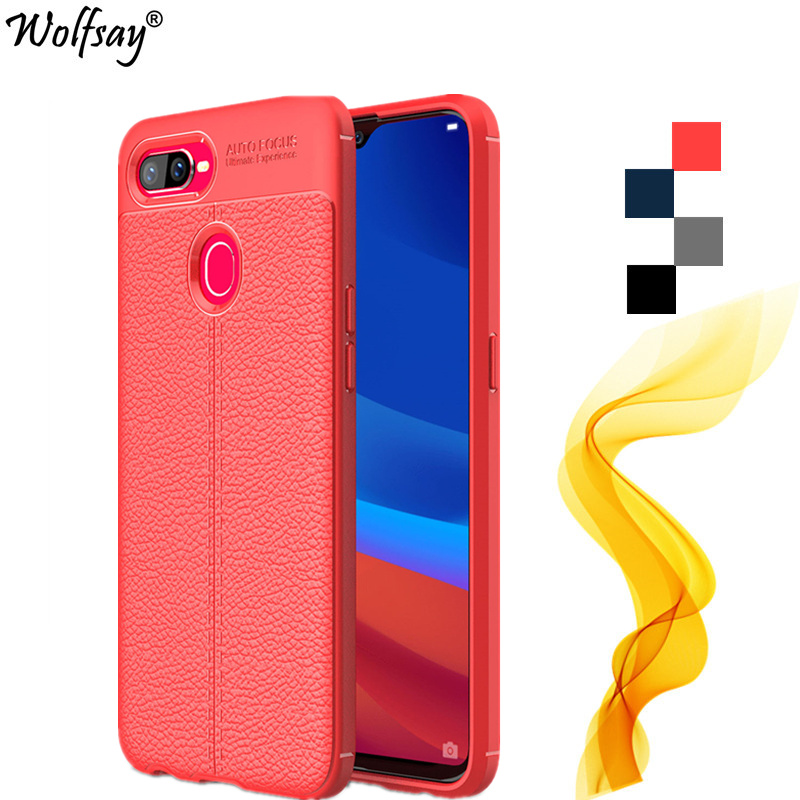 Wolfsay Case Oppo Realme U1 Case Oppo F9 Rugged Lichee Style Housings Rubber Silicone Cover For Oppo Realme U1 Cover For Oppo F9