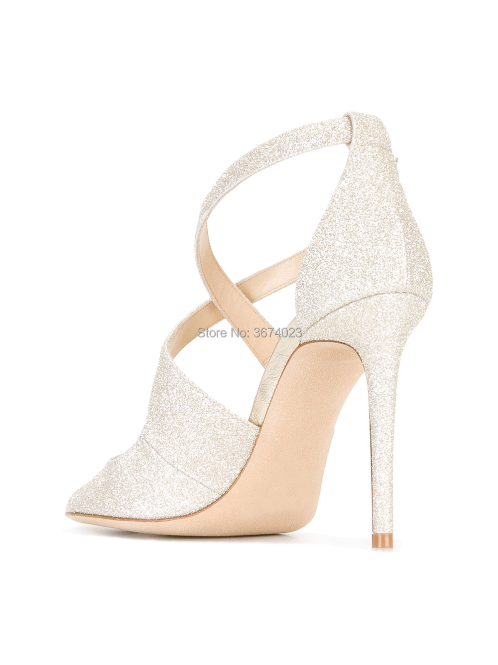 ece6c1a10e Qianruiti Design Celebrity Party Dress Sandals Peep Toe Glitter High Heels  Crossover Straps Shiny Ice Stilettos Bridal Heels New-in High Heels from ...