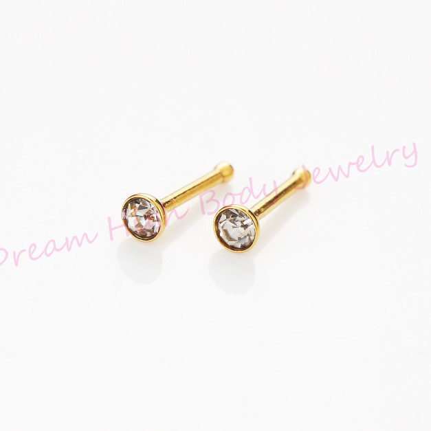 Gold Nose Stud Crystal Clear Gem 22g Rings Body Piercing Jewelry