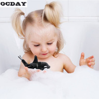 OCDAY Baby Bath Toys Swim Black Killer Whale Activated Battery Powered Robot Fish Funny Baby Bathing