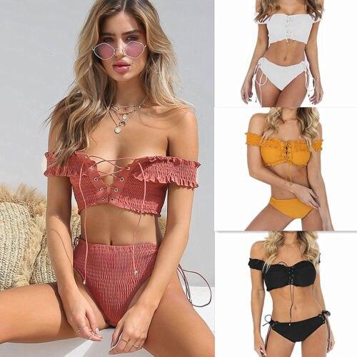 2018 Bandage Bikini Set High Waist Women Swimwear Sexy Off Shoulder Lace Up Women Bathng Suit Push Up Padded Bra Beachwear