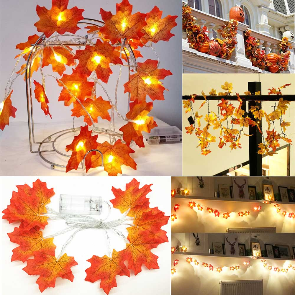 1.5M 3M LED Fall Leaves Garland Fairy String Lights Holiday Decoration For Living Room Christmas Tree Wedding Garden Party Lamp
