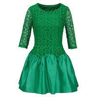 Young 17 Women Dress 2018 Spring Fall Green Lace Hollow Round Neck Half Sleeve Mini Above