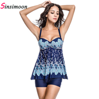 2015 New Sexy Print Padded Halter Skirt Swimwear Women One Piece Swimsuit Beachwear Swim Dress Plus