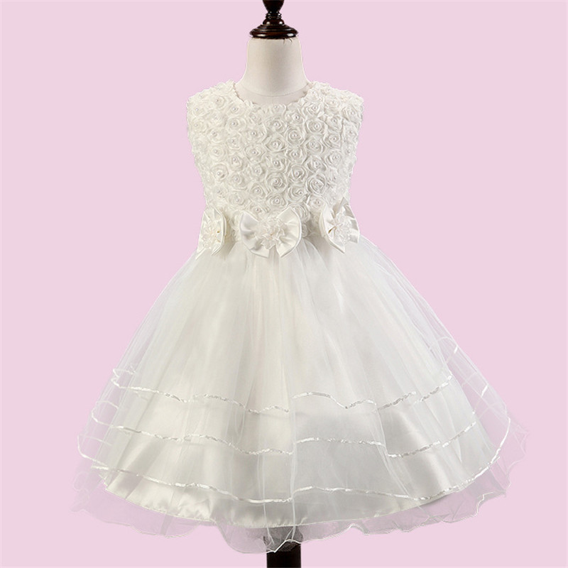 White Flower Baby Girl Dress Summer Beautiful Lace Layered Tutu Dresses Wedding Party for Baby Children Toddler Teen Girls h16 2013 hot baby summer new design stylish and elegant multi layered lace roses very beautiful girl in evening dress