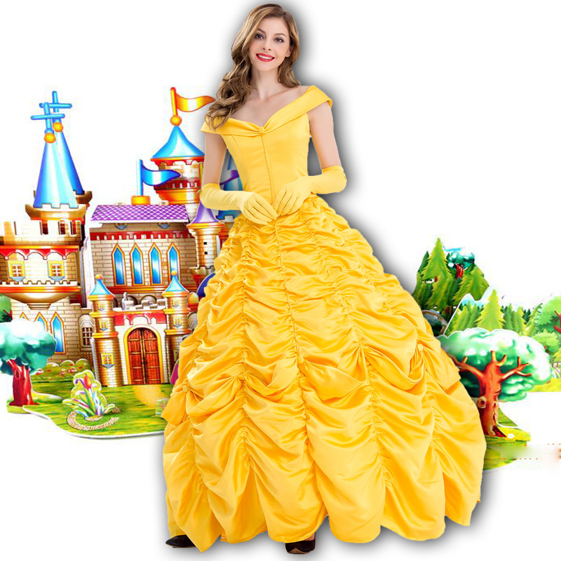 COSFANS HOT New Fantasia Halloween Cosplay Adult Princess Belle Costume Long Dress Women Southern Beauty and the Beast Costume