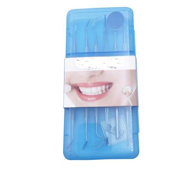5pcs-6pcs/Set Blue Transparent Case Dental Tool Sets Mirror Stainless Steel Clean Mouth Probe Tooth Care Kit Instrument Tweezer