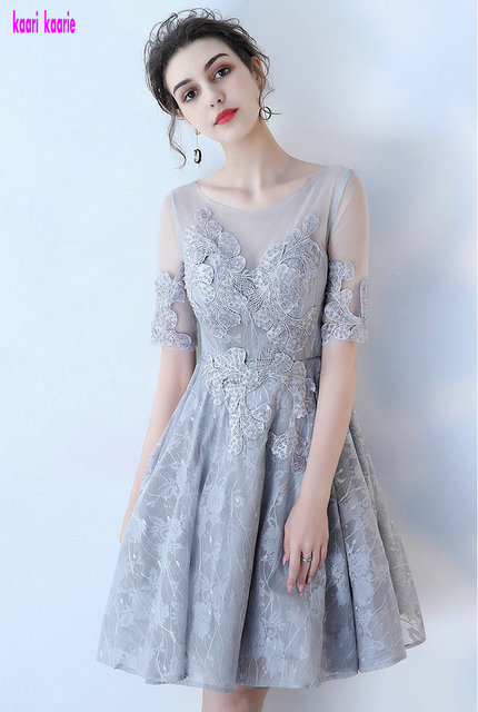 Elegant Silver Prom Dresses 2018 New Scoop Kenn Length A Line Lace ...